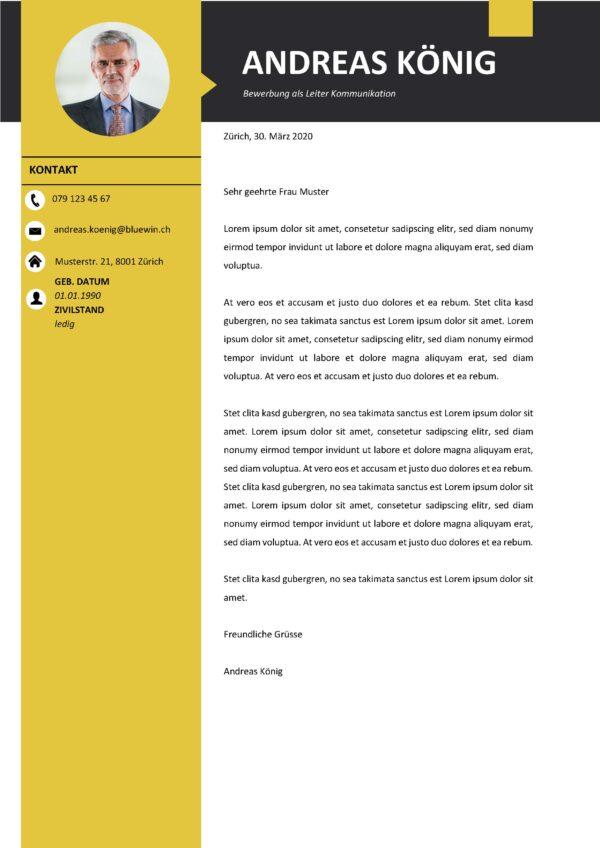 Bild Modern yellow Motivationsschreiben